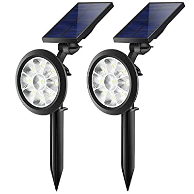 Trodeem Solar Landscape Spotlights (Cold & Warm White Adjustable) Waterproof Solar Powered Wall Light 2-in-1 Wireless Outdoor Decor Security Lights for Yard Garden Driveway Porch Pool Patio - 2 Pack