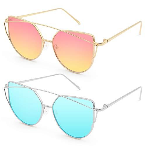 Livhò Sunglasses for Women, Cat Eye Mirrored + Transparent Flat Lenses Metal Frame Sunglasses UV400 (SILVER SKY BLUE + Gold Sunset)