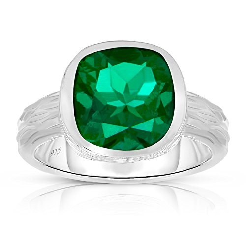 Emerald Bezel Ring (Sterling Silver Lab Created Emerald Tree Bark Finish Heavy Casting Ring - Size)