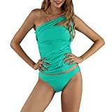 Nulibenna Womens One Shoulder Swimsuit Ruched Tummy Control Tankini Triangle Briefs