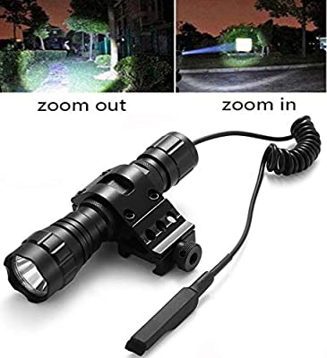 Tactical Flashlight 1200Lumens Zoomable Super Bright LED Rail Lights Waterproof with Rechargeable Battery, Pressure Switch, Picatinny Offset Mount for Hunting Camping Outdoors
