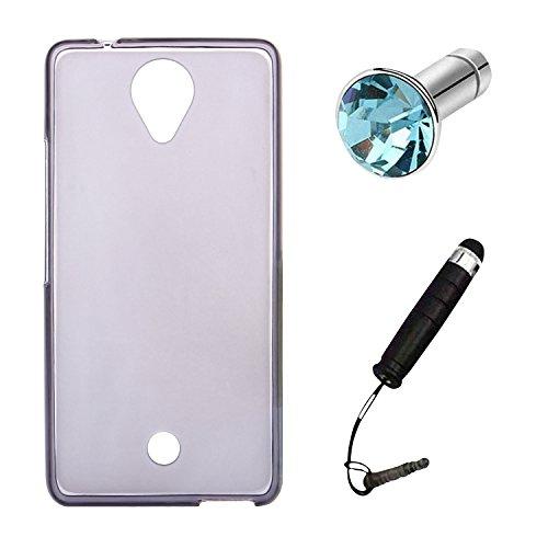 Lusee® Funda de silicona para Blu R1 HD / Wiko U Feel 5.0 pulgada Suave Cascara TPU gris semi transparente