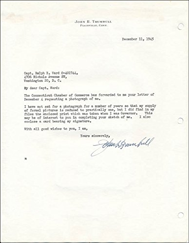 Governor John H. Trumbull Typed Letter Signed 12/11/1945