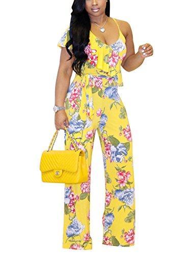 Subtle Flavor Floral Print Jumpsuit for Women Casual V Neck Sleeveless Wide Long Pants Playsuit Rompers Yellow L by Subtle Flavor
