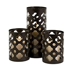 IMAX 56337-3 Norte Cutwork Candle Holders, Set of 3