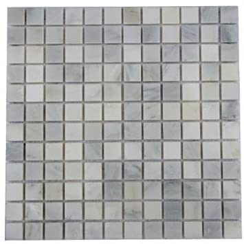 1x1 White Carrara Marble Polished Mosaic Tiles For Backsplash, Shower  Walls, Bathroom Floors