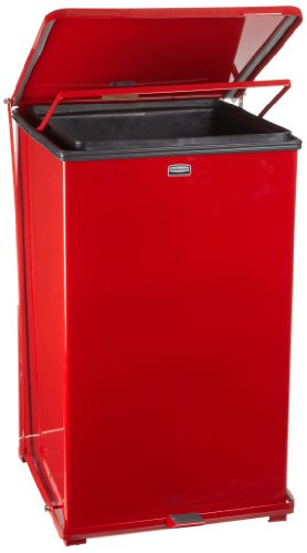 Rubbermaid Commercial FGST40EPLRD The Defenders Steel Step Trash Can with Plastic Liner, 40-Gallon, Red ()