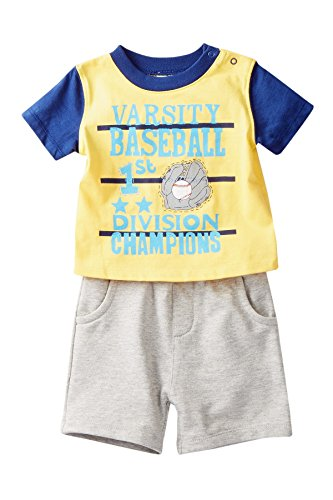 Absorba Baseball Baby Boys Tee and Shorts 2 Piece Set (0-3 Months) ()