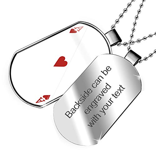 Double Heart Tag Necklace - NEONBLOND Personalized Name Engraved Ace of Hearts - Ace/Card Game Dogtag Necklace