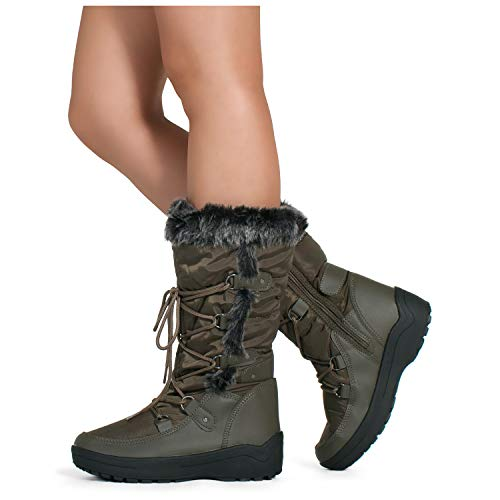 Cold Weather Fashion Boots - RF ROOM OF FASHION Women's Waterproof Warm Fur Lined Cold Weather Snow Rain Boots Premium Olive Nylon SIZE6.5