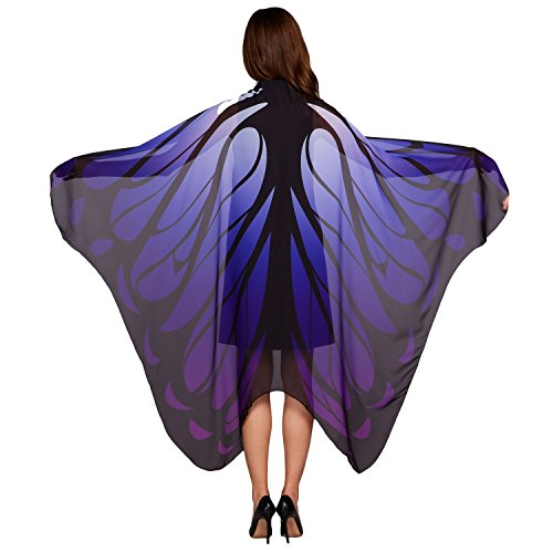 Lantusi Fairy Ladies Butterfly Wings Scarves Eye-catching Nymph Pixie Costume Accessory 180 x 145 cm (Woman Elf Costume Pattern)