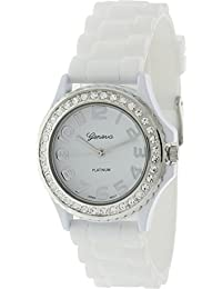 Geneva Platinum Women's 6886.White.Silver White Rubber Analog Quartz Watch