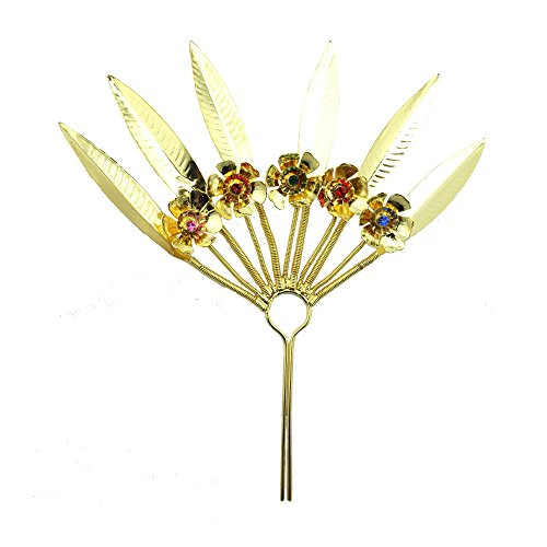[Siwalai Thai Traditional Gold Plated Multicolor Crystals Hair Leaf Fork 7.5 Inches] (Thai Dance Costume)