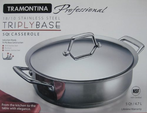 (Tramontina Professional Series Stainless Steel Tri-ply Base 5 Qt Casserole)
