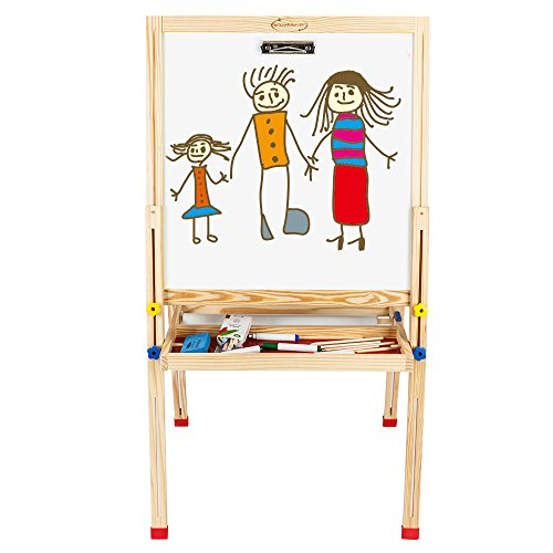 ShowMaven Double Sided Magnetic Kid's Art Painting Easel,Children's Day Gift,All-in-One Wooden Blackboard for Small Toddlers,with Paper Roll and Accessories