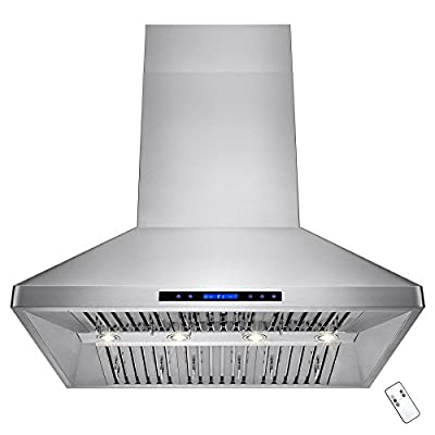 """AKDY® 48"""" Stainless Steel Wall Mount Type Halogen Lights Touch Screen Control LED Display Dual Motor Range Hood"""