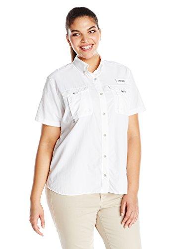 (Columbia  Women's PFG Bahama Short Sleeve - Plus Size , White, 1X)