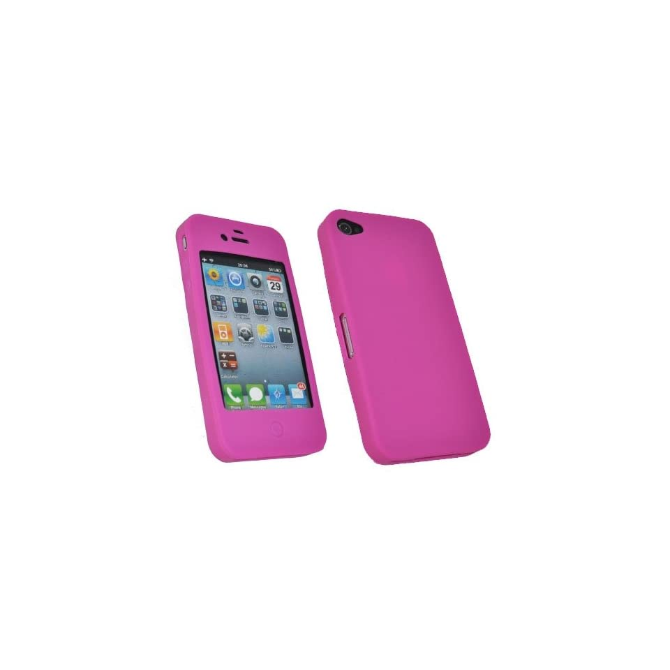 Mobile Palace Pink silicone skin case cover pouch holster for Iphone 4