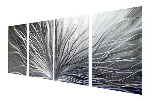 Miles Shay Metal Wall Art, Modern Home Decor, Abstract Wall Sculpture Contemporary- Radiant Silver (4 Panel- 63 Inch Wide)