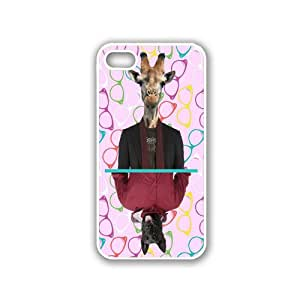 Hipster Style Sunglass Mirror Dog & Giraffe White iPhone 5 & 5S Case - Fits iPhone 5 & 5S