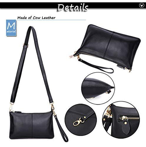 Leather Purse Black Pocket Simple Cow Bag Phone Cell Shoulder Black Wallet Crossbody Classic Zipper Women Bag Small R7nSgZ8n6