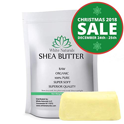 HOLIDAYS SALE! Shea Butter 1 lb Pure, Raw, Unrefined, Grade A, Ivory, Perfect Skin Moisturizer, DIY Lip Balms, Stretch Marks, Eczema, Acne, Recover Sun Damage, Kids Cream 16 oz by White Naturals -