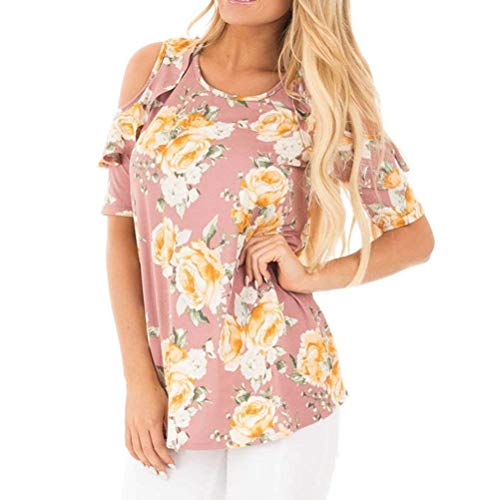 Mujer Camisas Shoulder Beach Off Moda Verano shirt Corta Manga Casual Cuello Flores Shirts Elegantes Redondo Volantes T Pink Relaxed Basic Cw5vUpv