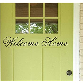 LUCKKYY Hello Welcome Home Vinyl Wall Decals Quotes Sayings Words Art Decor Lettering Vinyl Wall Art (Black)