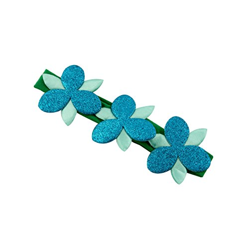 Goody Girls Trolls Poppy Flower Sparkle Headwrap Green with Blue Flowers (Pack of 3) (Best Birthday Wishes Animations)