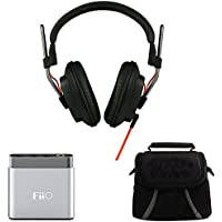 Fostex Professional Studio Headphones (T50RPMK3) with FiiO A1 Portable Headphone Amplifier – Silver & Digpro Compact Deluxe Gadget Bag for Cameras/Camcorders