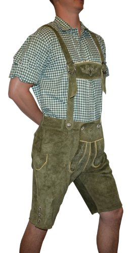 Trachten 2-Piece Leather German Oktoberfest Lederhosen Shorts 40 Loden Green by Trachten Haus