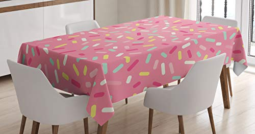 - Ambesonne Pink and White Tablecloth, Abstract Pattern of Colorful Donut Sprinkles Sweet Tasty Food Bakery Theme, Dining Room Kitchen Rectangular Table Cover, 60 W X 90 L Inches, Pink Yellow