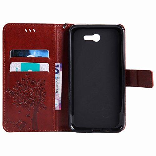 Yiizy Samsung Galaxy J7 (2017) Funda, árbol De Dibujo Design Premium PU Leather Slim Flip Wallet Cover Bumper Protective Shell Pouch with Media Kickstand Card Slots (Café)