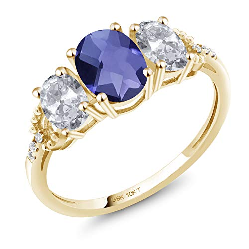 Gem Stone King 1.87 Ct Oval Checkerboard Blue Iolite White Topaz 10K Yellow Gold Ring (Size 7)