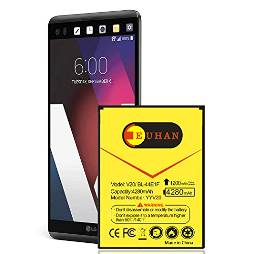 LG V20 Battery, Upgraded Euhan 4280mAh Extended Slim Battery BL-44E1F Replacement for LG V20 AT&T H910, T-Mobile H918, Verizon VS995, Sprint LS997, US996   V20 Spare Battery [24 Month Warranty]