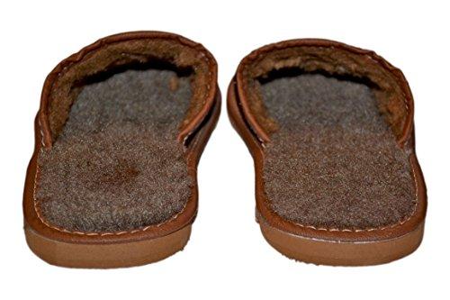 Herren Echtes Rindsleder Hausschuhe Pantoffeln Wolle Wärmendem Hüttenschuhe