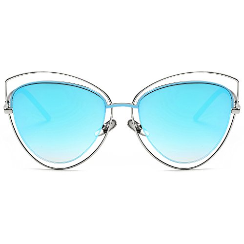 60ce823723 SojoS Women s Double Wire Double Rimmed UV400 Cat Eye Sunglasses SJ1046  SJ1047