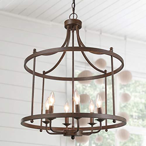 "LOG BARN Drum Lightening Chandelier Antique Bronze Finish, Medium Laundry Room, 21.6"" Foyer Light Fixture"