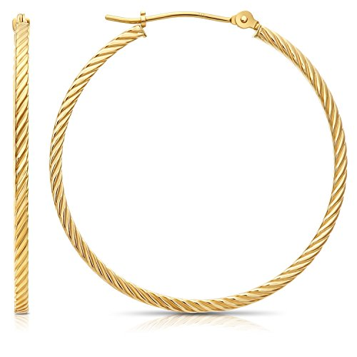 14k Gold Rope Hoop Earrings - 14k Yellow Gold Twisted Square Tube Hoop Earrings (35mm - 1.4'')