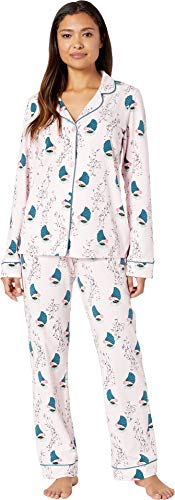 (BedHead Women's Long Sleeve Classic Notch Collar Pajama Set Songbirds)