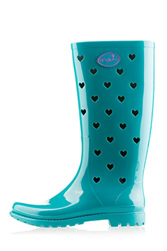 Boots Rain Turquoise Mei Hearts Wellies Ladies Perforated Wellington YRAq1F