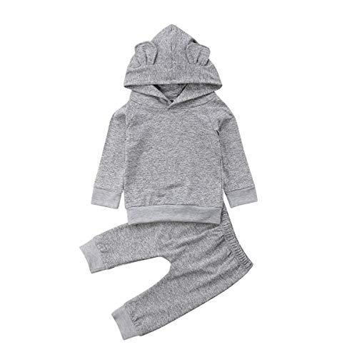 Infant Baby Girl Boy Plain Basic Cotton Hoodie Pants Outfits Set with Cute Ear (Grey, 6-12 Months)