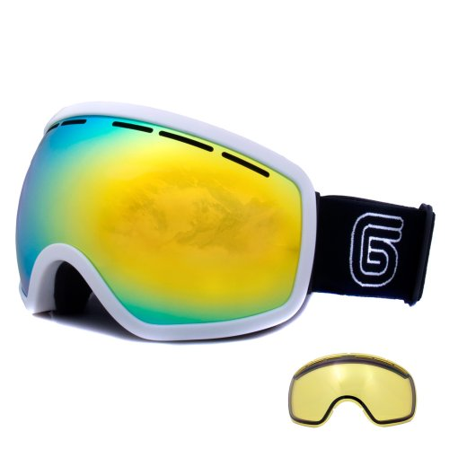 Grayne Whiteout MTN Goggles with Goldrush Anti-Fog Lens and Extra Yellow Low-Light Lens by Grayne