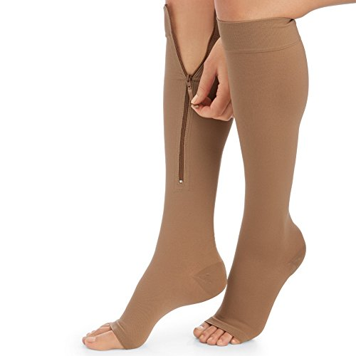 Zippered Compression Socks Multi Spandex