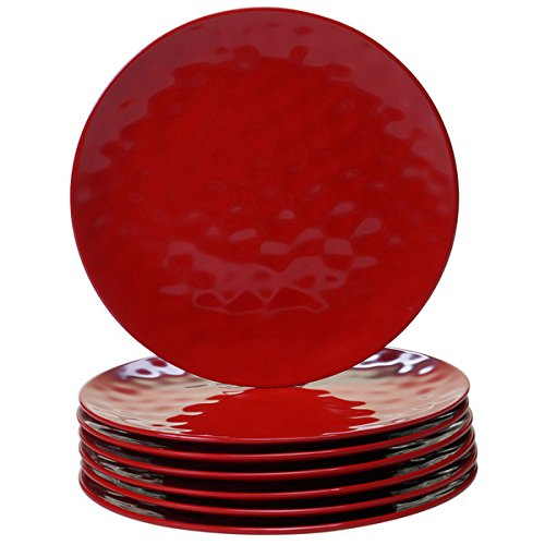 Red Melamine Dinner Plates (Pack of 6)