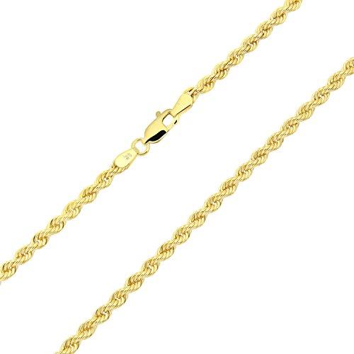 Revoni-Collier de Chaîne torsadée en or jaune 9carats 45,7cm/46cm Longueur