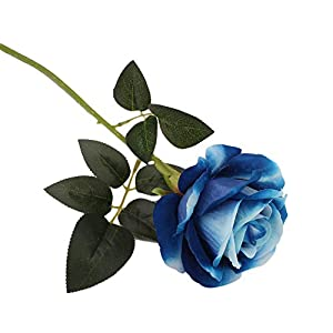 Elevin(TM) Rose Artificial Flower Latex Real Touch Bridal Wedding Bouquet Home Decor (Blue) 41