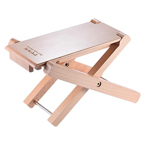 Solid Wood Guitar FootStools for Guitar Players, Jinli Adjustable Professional Handicraft Antiskid Folding Wood Footstool Pedal, For Classical Acoustic Guitar Foot Rest
