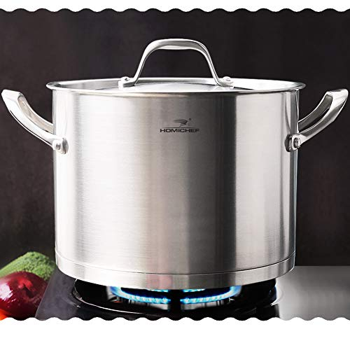 HOMI CHEF LARGE HEAVY ECOLOGICAL NICKEL FREE Stainless Steel Stock Pot 8qt w Lid No Toxic Non Stick Coating, 5.1LBS – Induction Pot 8 Quart Cooking Pot Stew Pot 4 Soup Pot Dutch Oven Pot Casserole