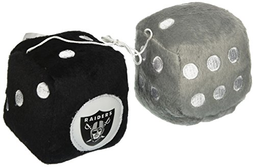 NFL Oakland Raiders Fuzzy Dice,one silver, one black w/ logo,3